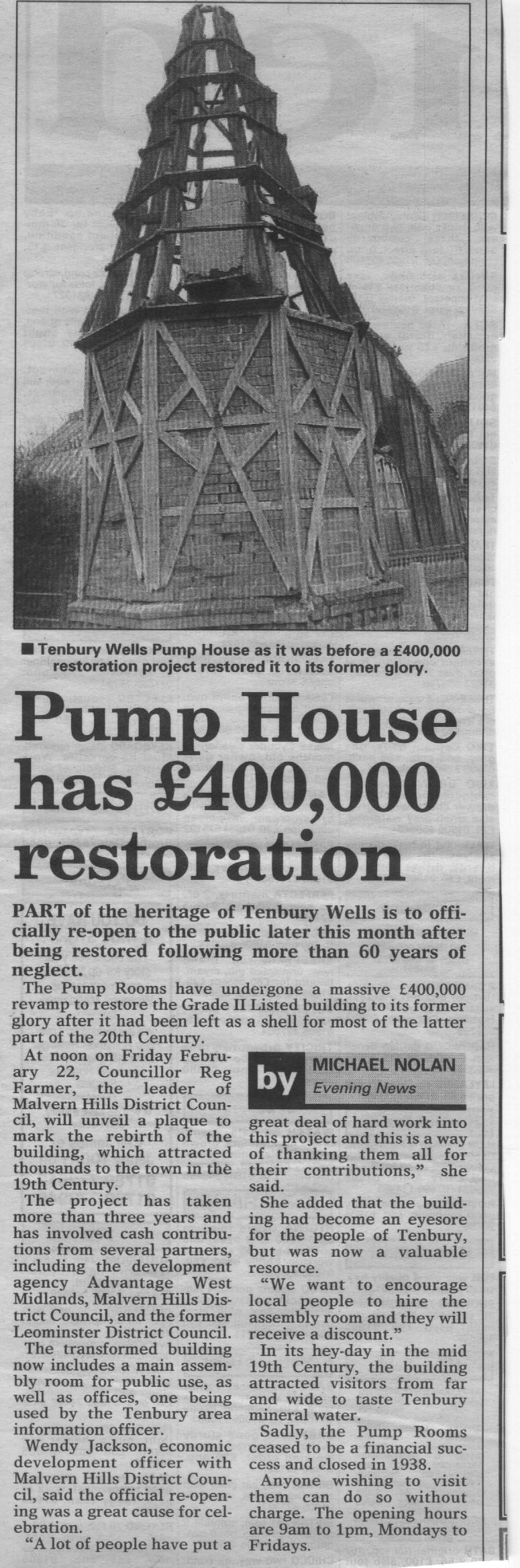 worcester evening news tenbury pump house. Black Bedroom Furniture Sets. Home Design Ideas